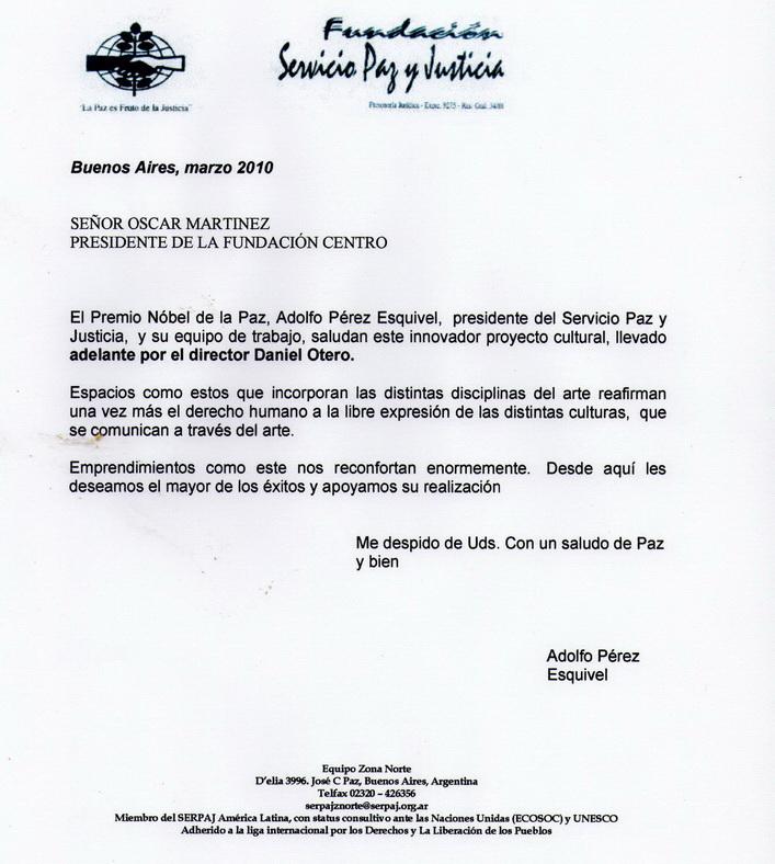 Carta de Perez Esquivel felicitando a daniel otero